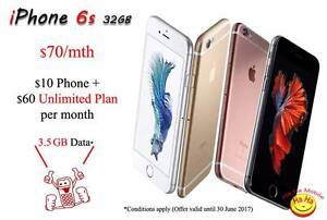 $70 per month Contract Apple iPhone 6s 32GB Auburn Auburn Area Preview
