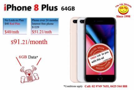 iPhone 8 Plus 64GB $40 Red Plan 6GB DATA