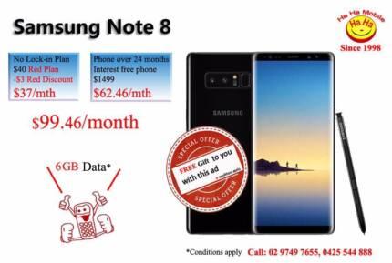Smasung Galaxy Note8 64GB Gold / Black Red Plan Ha Ha Mobile