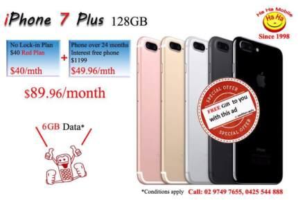 Brand New Unlocked Apple iPhone 7 Plus 128 GB Red Plan
