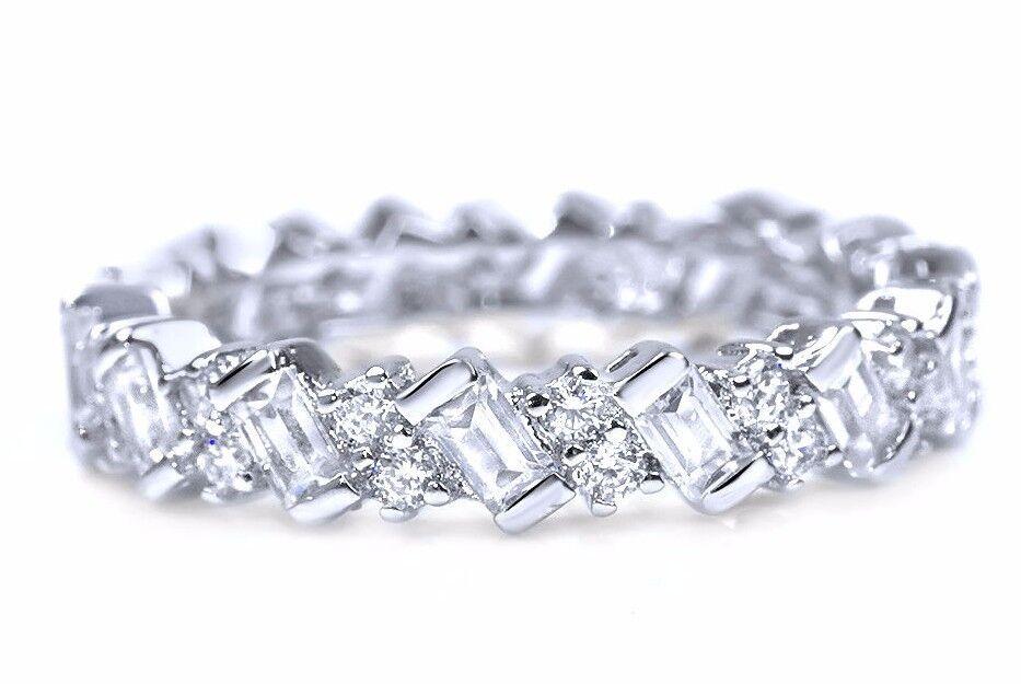 Round & Baguette Eternity Cz Wedding Band 925 Sterling. Heart Necklace. Wire Bangle Bracelets. Wholesale Bracelet. Multiple Sclerosis Awareness Bracelet. Opal Engagement Rings. Diy Bracelet. Expensive Earrings. Costly Diamond