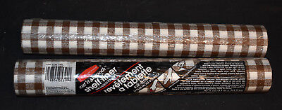 """Used, Vintage Rubbermaid Shelf Liner BROWN PLAID - SEALED NIP 10' x 12"""" Lot of 2 Rolls for sale  Shipping to India"""
