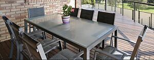 9 Piece Outdoor Glass Top Table and Chairs setting in silver grey Coomera Gold Coast North Preview