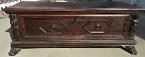 Renaissance Walnut Carved Cassone Large Italian Wedding Chest 16th 17th Century