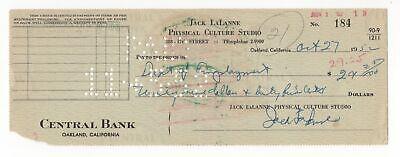 Jack LaLanne - Fitness & Nutrition Guru - Autographed 1952 Canceled Check