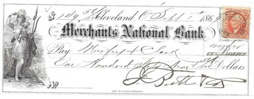 Antique Bank Check Merchants National Bank Cleveland Sept 1 1869, Butts & Co.