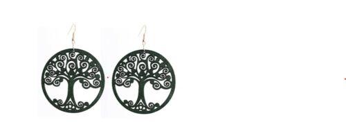Celtic Green Tree of Life Wooden Earrings