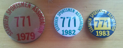Three Old Starview Sportsmen Association Pinbacks Mount Wolf PA 1979 1982 1983