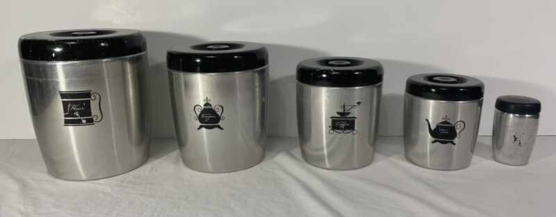 Vintage West Bend Aluminum Canister Set of 5 Flour Sugar Tea Coffee Shaker USA