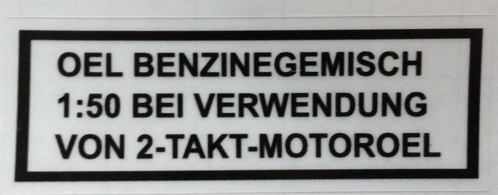 Puch Trockenabzug Sticker Black Oil Benzingemisch 1:50 at Use 2-Takt