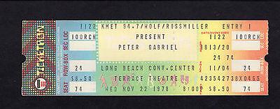 1978 Peter Gabriel of Genesis unused full concert ticket Long Beach CA Scratch