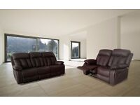 Foxxi Bonded Leather Recliner 3 and 2 Seater With Pull Down Drink Holder