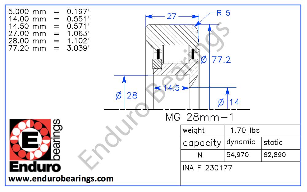 """3//8x1-1//8x3//8/"""" 1614-2RS Enduro Bicycle Bearing Abec3 9.525x28.575x9.525mm"""