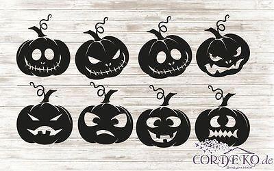 8 x  Kürbis Aufkleber Halloween Fenstertattoo Grusel - Halloween Fenster Sticker