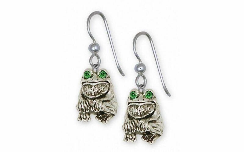 Frog Earrings Jewelry Sterling Silver Handmade Frog Earrings FG10-XE