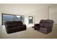 Luxury Vicky 3 and 2 Seater Recliner In Bonded Leather With Pull Down Drink Holder