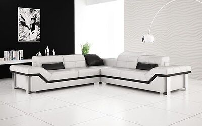 ★ Modern Large LEATHER SOFA Corner Suite NEW RRP £5999 White & black ★