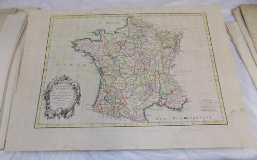 1771 Antique COLOR Map///CARTE GENERALE DE FRANCE, DIVISEE PAR GOUVERNEMENTS