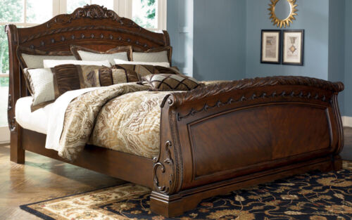 Ashley North Shore B553 King Size Sleigh Bedroom Set 8pcs in Traditional Style