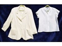 "Ladies Cream Suit Jacket C52"" & Smart White Silky Shirt C46"""