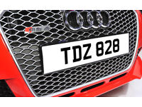 TDZ 828 Dateless Personalised Number Plate Audi BMW Ford Golf Mercedes Kia Vauxhall