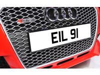 EIL 91 Personalised Number Plate Audi BMW Volvo Ford Evo Subaru Honda Toyota Kia GTI M3 RS