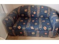 Sofa bed.Blue Metal frame.Easy to pull out. Comfortable to use as a sofa or a bed.Good condition.