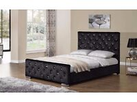 【CHESTERFIELD BED FRAME 】BLACK CREAM & SILVER--- SINGLE DOUBLE AND KING SIZES AVAILABLE