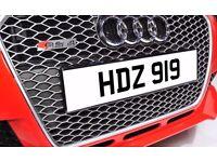 HDZ 919 Personalised Number Plate Audi BMW Ford Golf Mercedes Kia Vauxhall
