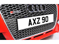 AXZ 90 Dateless Personalised Number Plate Audi BMW Ford Golf Mercedes Kia Vauxhall