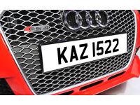 KAZ1522 Dateless Personalised Number Plate Audi BMW Volvo Ford Evo Subaru Honda Toyota Kia GTI M3 RS