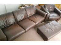 Brown leather suite - large sofa, arm chair and foot stool