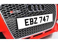 EBZ 747 Dateless Personalised Number Plate Audi BMW Ford Golf Mercedes Kia Vauxhall