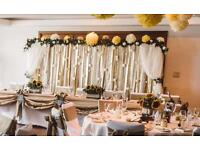 Wedding backdrop cream & white roses lace, gold,organz