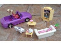 Barbie car, Barbie doll, and Barbie lounge furniture
