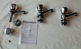 3 x Classic Chrome Bathroom Taps
