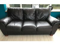 Dark Brown Leather 3 and 2 seater sofa set