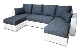 NESSI Brand New Corner Sofa Bed U - SHAPED 2 x Storage for bedding BED White / Grey Delivery