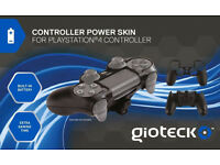 *BRAND NEW* Gioteck Black Controller Power Skin (Built-in Battery) PS4 Dual Shock 4