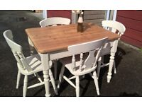 English Pine table with 4 chairs hand painted with gentle distressed wax finish