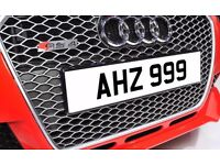 AHZ 999 Personalised Number Plate Audi BMW Ford Golf Mercedes Kia Vauxhall