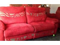 red |SCS casper 3 seater recliner sofa and 2 seater stationery sofa