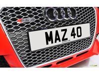 MAZ 40 Rare Late Old Dateless Personalised Number Plate Audi BMW Ford Golf Mercedes Kia Vauxhall