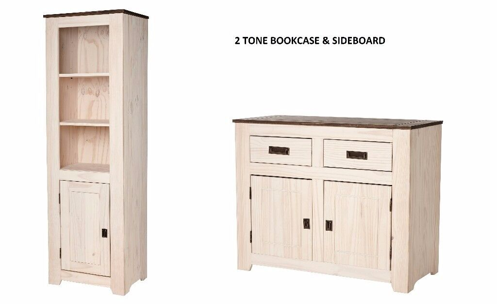 BRAND NEW Contemporary Solid Wood Solid Pine Sideboard 2 door & Bookcase in Two-Tone