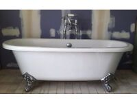 Roll Top Bath and Bespoke Vanity Sink Set c/w Lever Taps