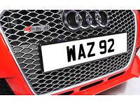 WAZ 92 Dateless Personalised Number Plate Audi BMW Ford Golf Mercedes Kia Vauxhall Warren Wendy Way