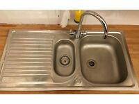 IKEA Kitchen sink 1 & 1/2 bowl w/ drainboard inc. dual control mixer tap