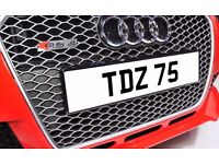 TDZ 75 Personalised Number Plate Audi BMW Ford Golf Mercedes Kia Vauxhall Tony Tad Todd Ted Terry