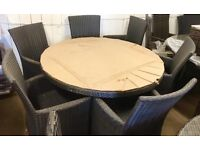 Rattan Garden table and chairs black cream cushions garden furniture 6 seater