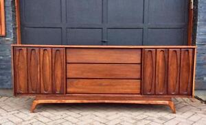 REFINISHED Mid Century Modern Walnut Credenza Dresser 9 Drawers with Sliding Doors
